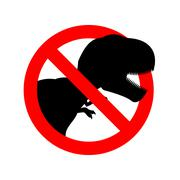 Stop dinosaur. Prohibited tirranozavr Rex. Crossed-aggressive prehistoric rep - stock illustration