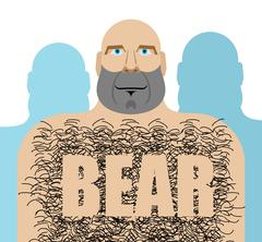 Gay bear. Big hairy man. LGBT community Stock Illustration