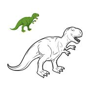 Tyrannosaurus Rex dinosaur coloring book. Prehistoric reptile linear style. A Stock Illustration