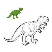 Tyrannosaurus Rex dinosaur coloring book. Prehistoric reptile linear style. A - stock illustration