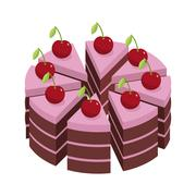 Cherry cake. Pieces of holiday cake. Birthday dessert with cherries. Sweets c Stock Illustration