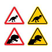 Warning sign of attention dinosaur. Dangers yellow sign Tyrannosaurus Rex. Pr Stock Illustration
