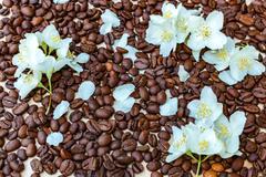pieces of white and milk chocolate. jasmine flowers. Black coffee - stock photo