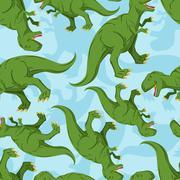 Dinosaur seamless pattern. Dino texture. Tyrannosaurus Rex Ornament. Prehisto Stock Illustration