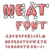 Meat font. Steak on bone alphabet. Pork alphabet. Beef letters. Fresh ham let - stock illustration