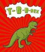 Tyrannosaurus pop art style. Angry prehistoric reptile. Ancient animal predat - stock illustration