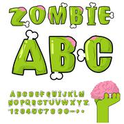 Zombie ABC. Bones and brains. horror monstr font. Living dead alphabet. Green - stock illustration