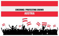 Cheering or Protesting Crowd Austria - stock illustration