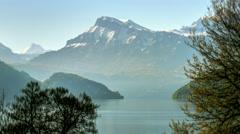 Morning Mountain Range Lake Landscape - 29,97FPS NTSC Stock Footage