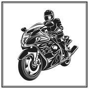Biker riding a motorcycle . Bikers event or festival emblem - stock illustration
