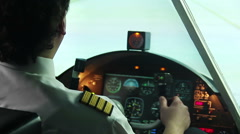 Airplane standing on runway, pilot filling out documents and starting flight Stock Footage
