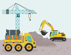 Construction machinary design Stock Illustration