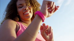 Fit afro hair Ethnic African American female doing workout exercise at sunset  Stock Footage