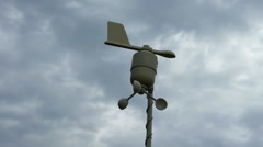 Anemometer over cloudy stormy sky Stock Footage