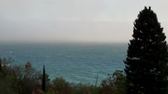 Fog moving over the water. fog over the sea Stock Footage