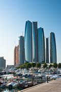 Al Bateen Wharf and the Etihad towers in Abu Dhabi, UAE Stock Photos