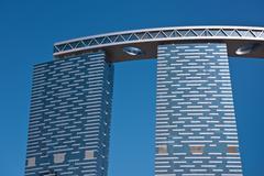 Abu Dhabi The Gate Towers skyscrapers - stock photo