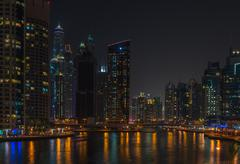 Night view of Dubai Marina, United Arab Emirates - stock photo