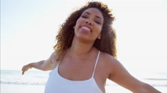 Portrait of happy afro hair Ethnic African American female at sunset  Stock Footage