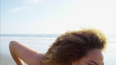 Portrait of attractive afro hair young Ethnic African American female waving Stock Footage