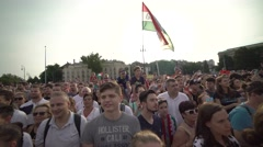 Hungarian fans chanting a name - stock footage