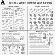 Trusses Square Triangular Beam Bundle 000 3D Model