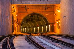 Metro Train Tunnel Entrance on the Bridge of Dom Luiz in Porto - stock photo