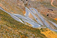 New curvy road near Chora Sfakion town on Crete, Greece - stock photo