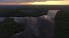 aerial rotating 360  sunset finnish countryside - stock footage