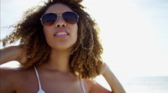 Portrait of beautiful young voluptuous African American female relaxed  Stock Footage
