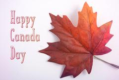 Canada Day Maple Leaf with handdrawn text - stock photo