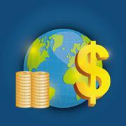 Business, money and global economy - stock illustration