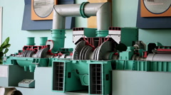 A nuclear power station. A training model of a steam turbine. - stock footage