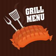 Fresh and delicious sausages bbq designs Stock Illustration