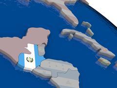 Guatemala with flag - stock illustration