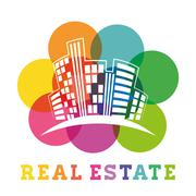 Real estate edifices and residential towers Stock Illustration