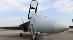 U.S. Navy F/A 18 Super Hornet front view Stock Footage