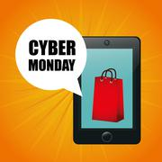 Cyber mondays e-commerce promotions and sales - stock illustration