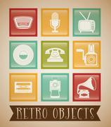 Retro objects vintage design - stock illustration