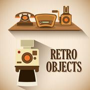 Retro objects vintage design Stock Illustration
