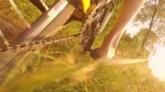 Cyclist rides on the bike through the grass, sunbeams in the lens, the low point Stock Footage