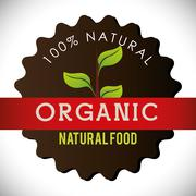 Organic natural food label - stock illustration