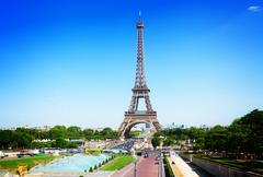 Eiffel Tower and Paris cityscape Stock Photos