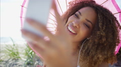 Afro hair Ethnic African American female using video call on a smart phone  Stock Footage