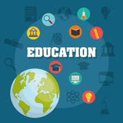 Education and elearning icons - stock illustration
