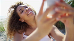 Plus size Ethnic African American female taking a selfie for fun with a phone Stock Footage