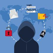 Digital fraud and hacking design Stock Illustration