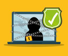 Digital fraud and hacking design - stock illustration
