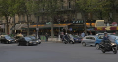 Car and people traffic in the street of Paris Stock Footage