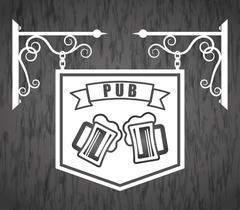 Pub beer and alcohol Stock Illustration